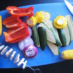 mixed vegetables on cutting board