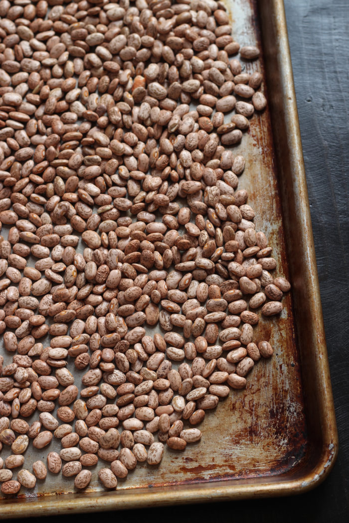 dried beans on a cookie sheet