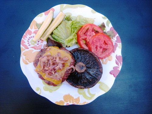 plate of burger patty with portabello mushroom