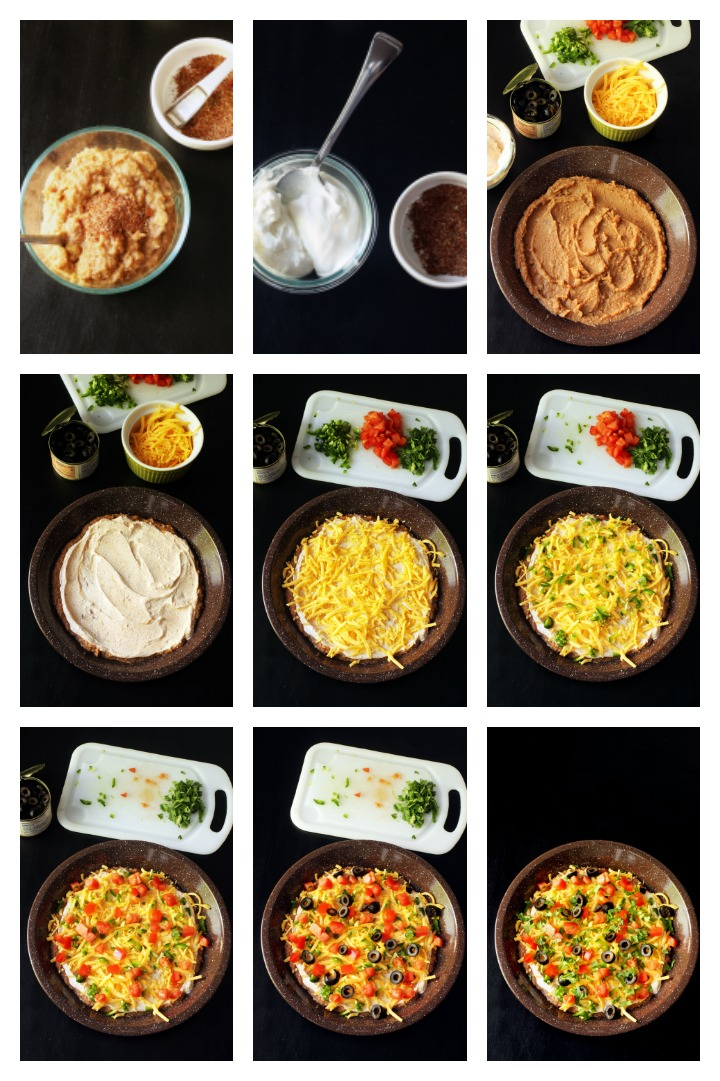 step by step photos of making seven layer dip