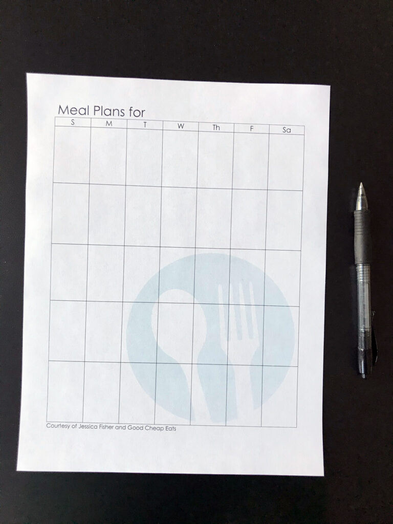 blank meal plan calendar