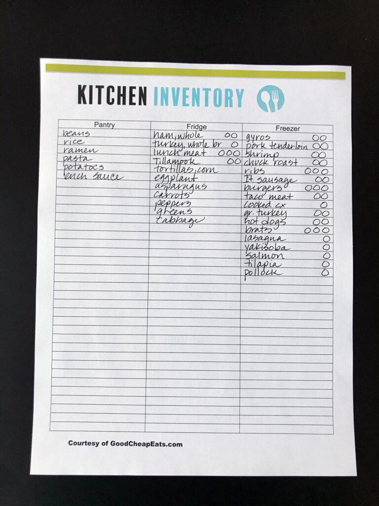 kitchen inventory worksheet