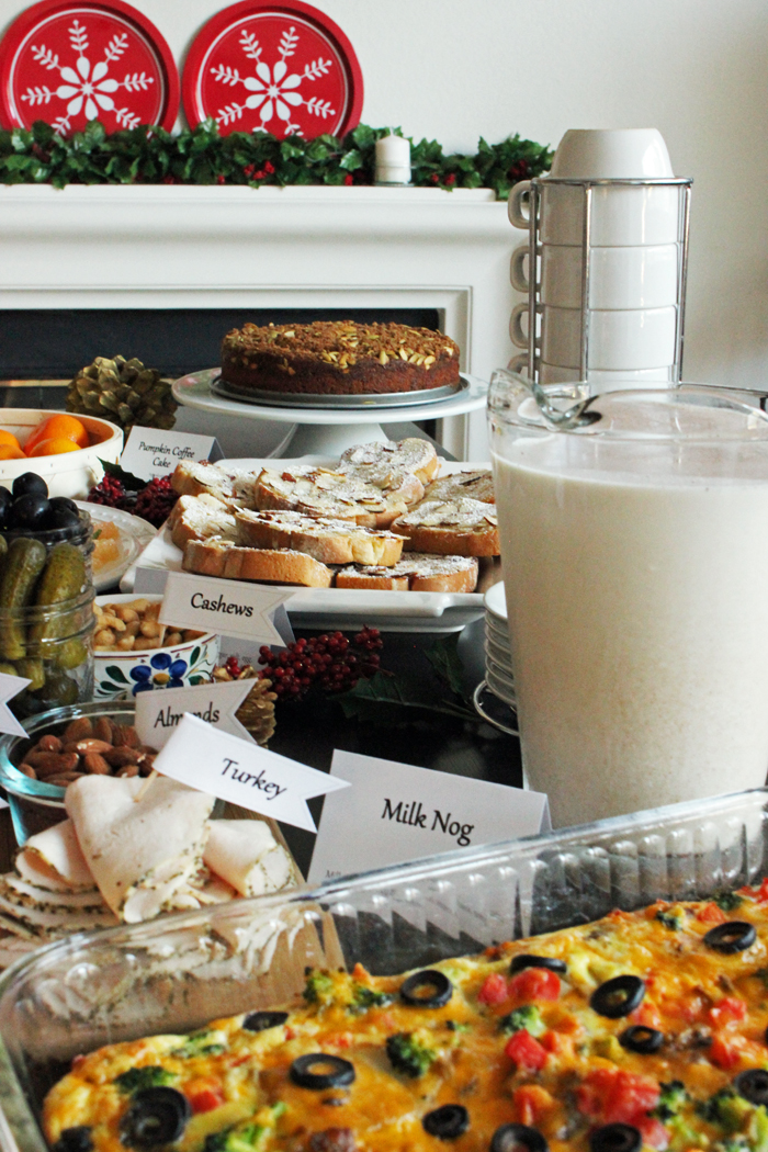 A buffet table filled with food for the holidays