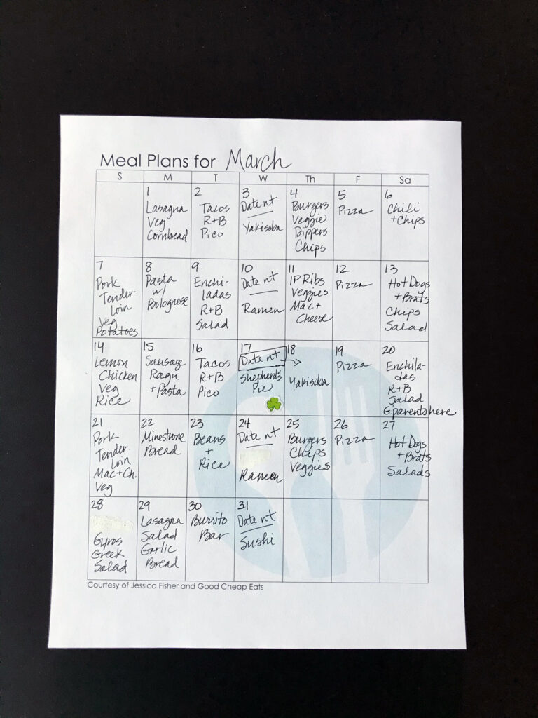 completed monthly meal plan