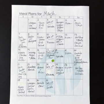 completed month's calendar with meal plans