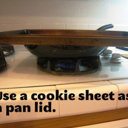 use a cookie sheet for a pan lid