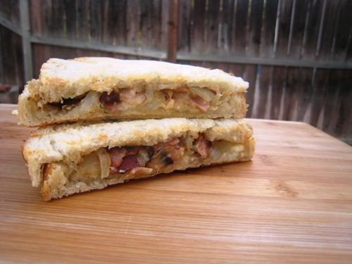 Bacon and Brie Panini with Mushrooms and Onions