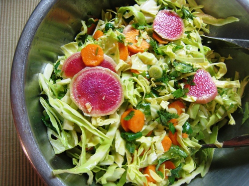 A bowl of cabbage salad