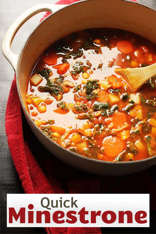 A pot of Minestrone Soup