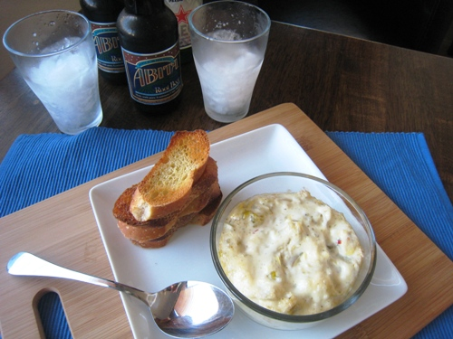 artichoke dip with drinks
