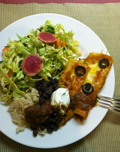 enchiladas with cabbage salad