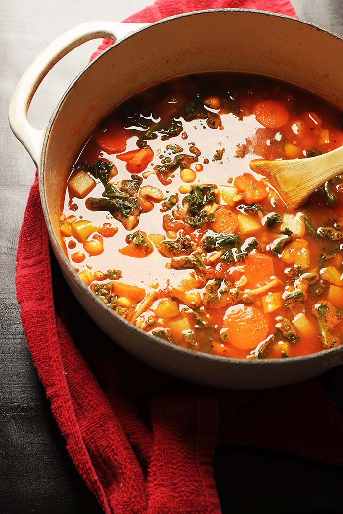 pot of minestrone with red towel