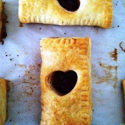 A baked puffy heart tart