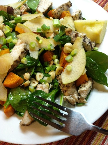 Spinach Salad with Sweet Potatoes and Chicken