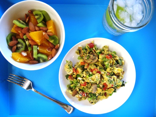 Vegetable Scramble with Fruit Salad