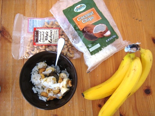 bananas coconut cashews