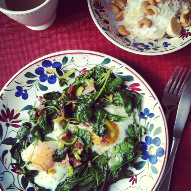 a plate of skillet eggs and bowl of monkey salad