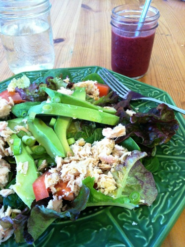 salad and smoothie