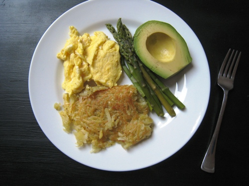 Scrambled Eggs and Sweet Potato Hashbrowns
