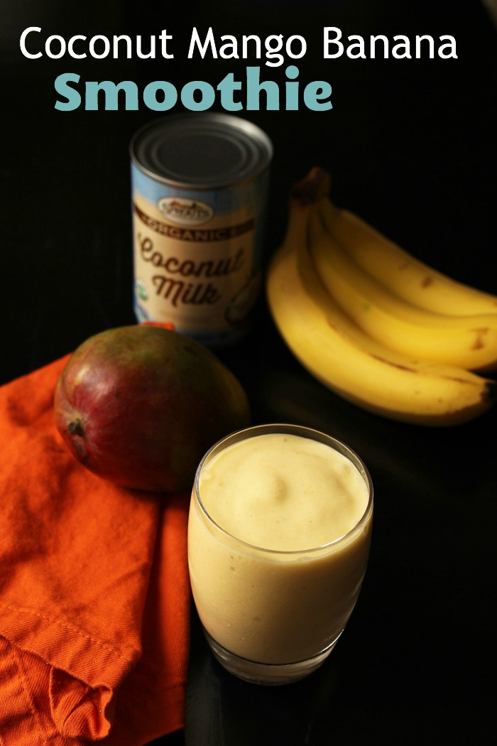 pinnable image coconut mango smoothie in cup