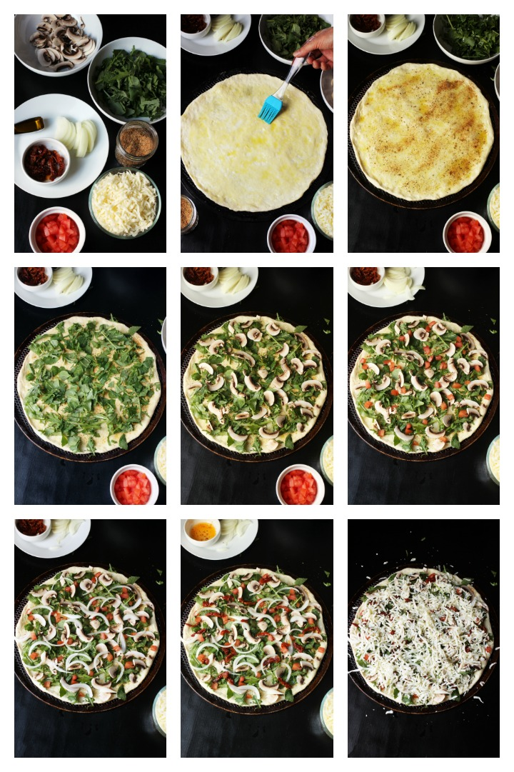 step by step photos of making kale pizza