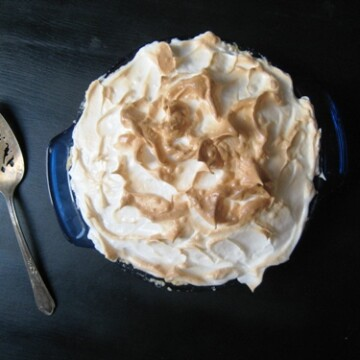 Lemon Meringue Pie on black table