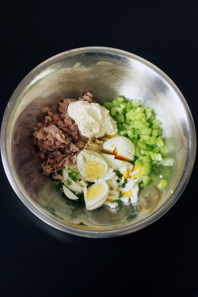 ingredients chopped into bowl