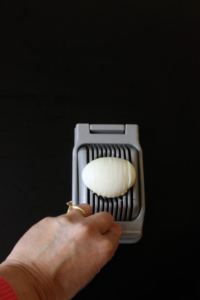 egg on slicer sliced horizontally