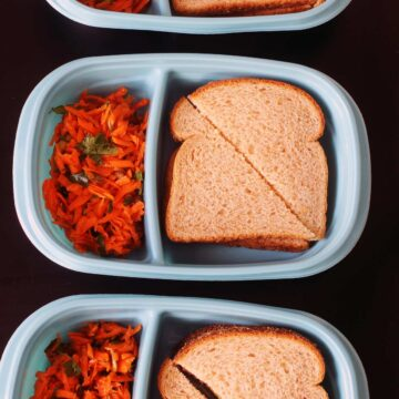 egg salad sandwiches packed in divided dishes with carrot salad in the side compartment.