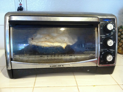toaster oven with a pie in it!
