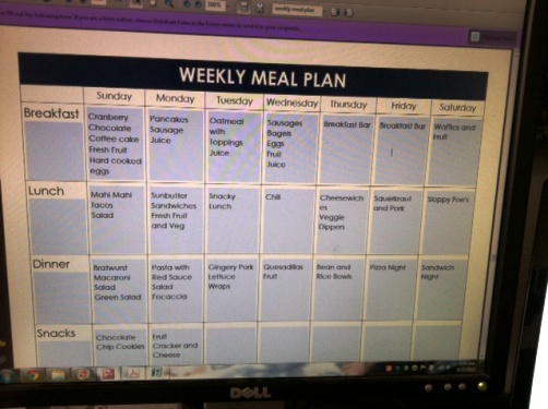 weekly meal plan on computer