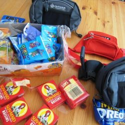 fanny packs with snacks