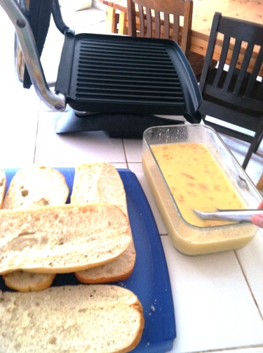 panini press and egg mixture for french toast