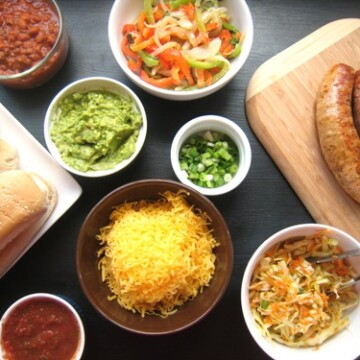 toppings and ingredients for Sausage Hot Dog Bar