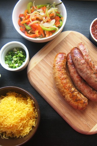 sausage bar with toppings
