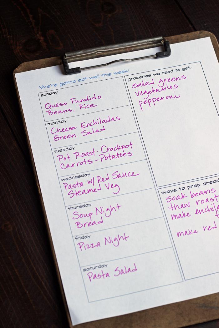 printable meal planning worksheet