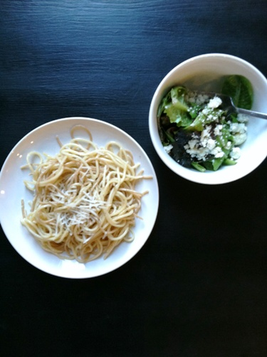 creamy noodles and salad