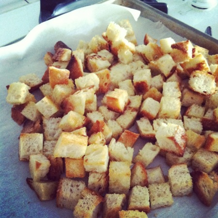 homemade crouton on a baking sheet