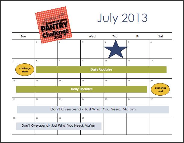 pantry challenge calendar