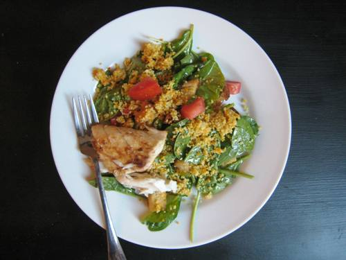 salad with white sea bass