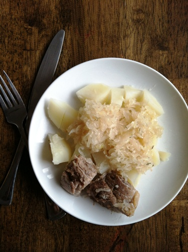 Sauerkraut and Pork in the Crockpot