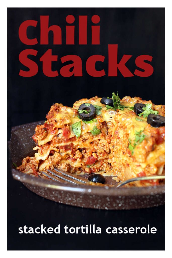 Cut side view of chili stacks