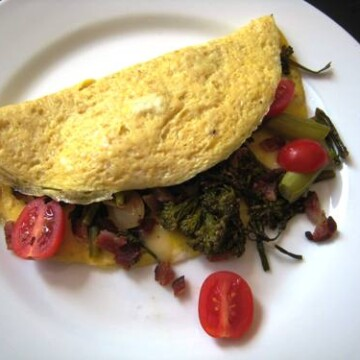 closeup of an omelet on a plate