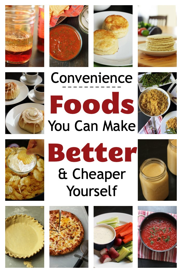 collage of convenience foods you can make