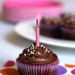 A close up of a decorated cupcake with chocolate Buttercream