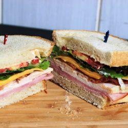 A Spring Street Club sandwich cut in half