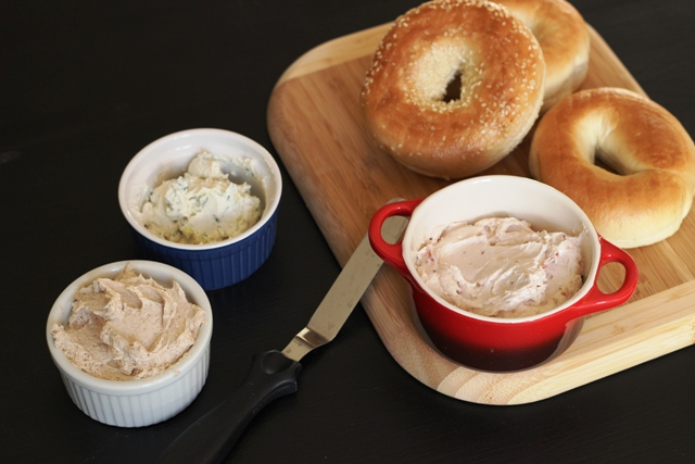 Three kinds of flavored cream cheese