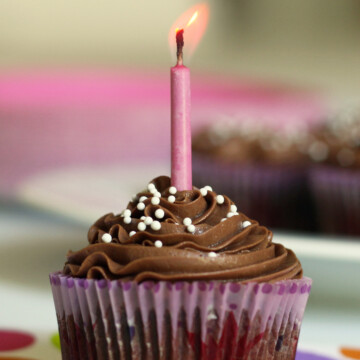 chocolate frosted cupcake with candle
