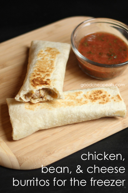 Chicken Bean and Cheese Burritos for the Freezer