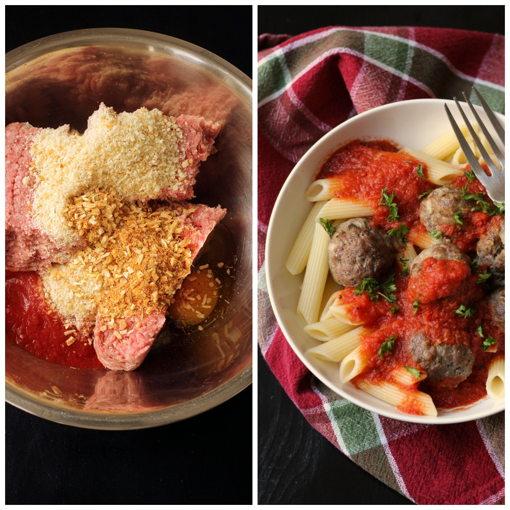 collage of a bowl filled with meatball ingredients next to a bowl of pasta and cooked meatballs